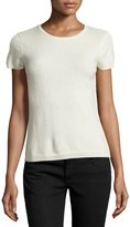 Neiman Marcus Cashmere Short-Sleeve Pullover Top, Ivory