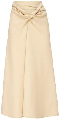 Lemaire Draped Felt Wool Midi Skirt