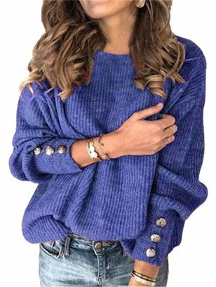 Sexy Dance Women's Knitted Jumper Chunky Solid Color Sweater Oversized Pullover Button Tunic Tops S Blue