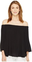 Vince Camuto Three-Quarter Sleeve Pleated Off Shoulder Blouse Women's Blouse
