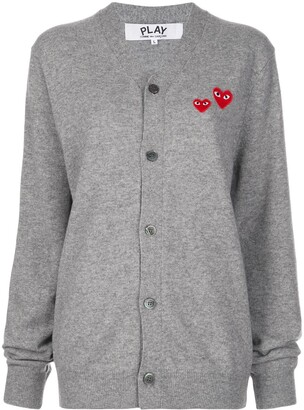 Comme des Garcons Double Heart-Patch Knit Cardigan