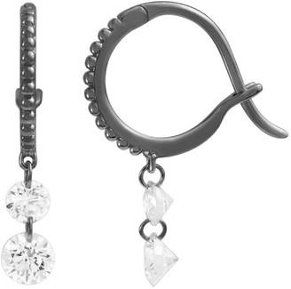 Raphaele Canot Set Free Double Diamond Beaded Black Gold Mini Hoop Earrings