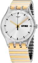 Swatch Women's 41mm Two Tone Steel Bracelet Plastic Case Quartz Watch Suok708b