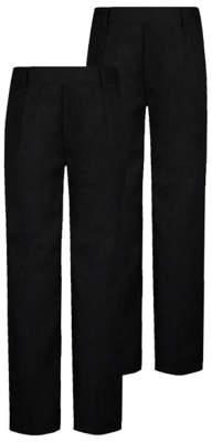 George Boys Charcoal Longer Length Half Elastic School Trouser 2 Pack