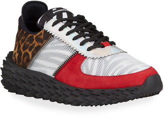Giuseppe Zanotti Men's Urchin Mix-Media Animal-Print Sneakers