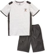 Beverly Hills Polo Club Heather Gray 'Beverly Hills Polo Club Tee & Shorts - Boys