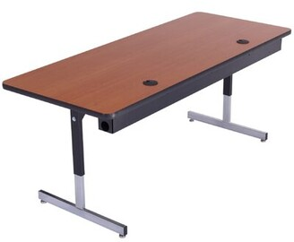 Technology Height Adjustable Computer Table with Cable Management AmTab Manufacturing Corporation Size: 29'' H x 96'' L x 30'' W
