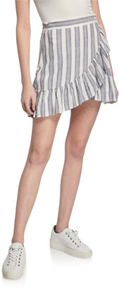 Rails Ruby Striped Mini Ruffle Wrap Skirt