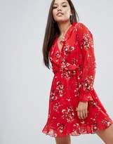 Boohoo Ruffle Wrap Long Sleeve Dress