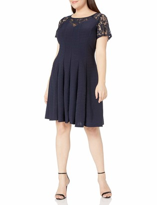 Julian Taylor Women's Plus Size Graceful A-line Short Sleeved Dress