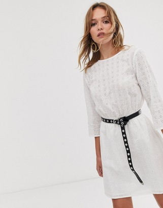 Asos Design DESIGN casual elasticated mini dress in broderie-White