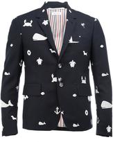 Thom Browne multiple embroideries blazer - men - Cupro/Wool - 1
