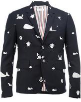 Thom Browne sea embroidery blazer - men - Cupro/Wool - 1