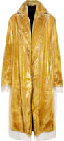 Calvin Klein Layered Pvc And Faux Fur Coat - Yellow