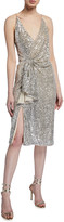Aidan Mattox Draped Sequin Spaghetti-Strap Dress w/ Gathered Side