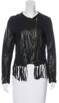 Maje Fringe-Trimmed Leather Jacket