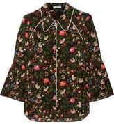 Erdem Aran Floral-print Silk Crepe De Chine Shirt - Black