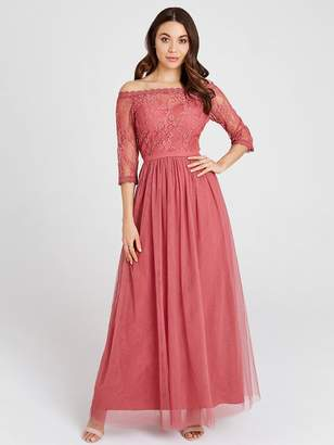 Little Mistress Mesh Top Bardot Maxi Dress - Blush