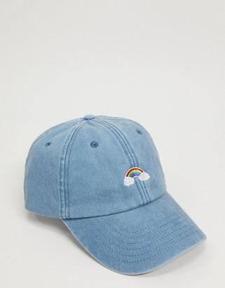 Daisy Street baseball cap in denim with rainbow embroidery