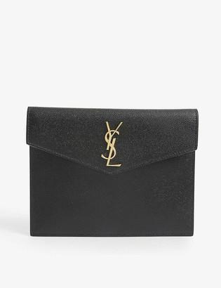 Saint Laurent Uptown Baby leather envelope pouch