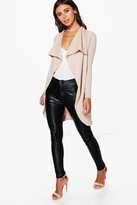 boohoo Petite Hannah Ponte Wrap Front Duster Jacket