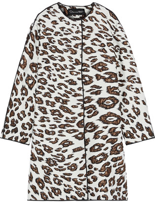 Oscar de la Renta Metallic Leopard-jacquard Coat