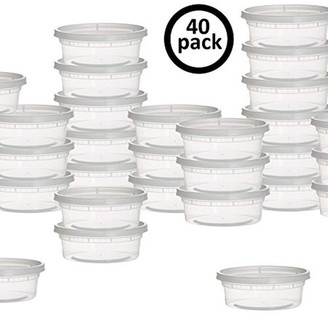 Shopokus ShopoKus Plastic Containers for Lunch / Small Food Containers with Lids, Leak Proof, Microwavable, Freezer And Dishwasher Safe, 8 Ounce, 40 Pack