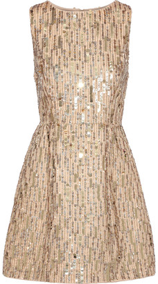 Alice + Olivia Lindsey Embellished Cotton Mini Dress
