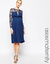 Asos Kate Midi Dress With Lace Sleeves
