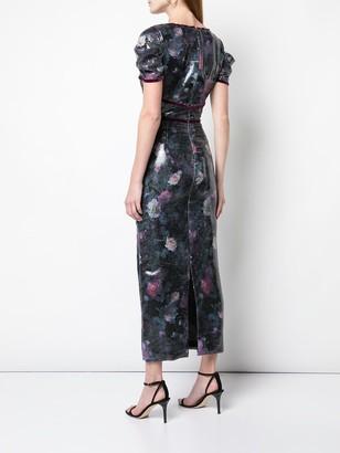 Marchesa Notte Embellished Midi Dress