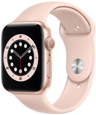 Apple Watch Series 6 GPS, 44mm Gold Aluminum Case with Pink Sand Sport Band - Regular