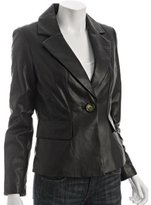 KORS black leather single button blazer