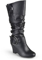 Brinley Co. Women's Wide Calf Buckle Tall Faux Leather Boots