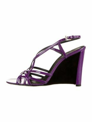Prada Patent Leather Wedge Sandals Purple
