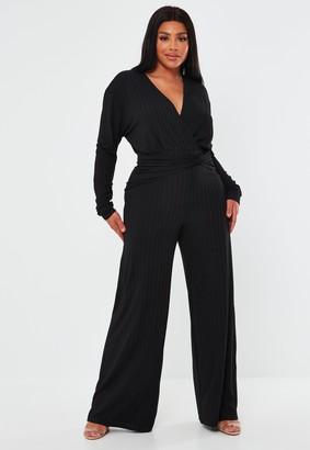 Missguided Recycled Plus Size Black Rib Twist Jumpsuit