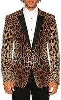 Dolce & Gabbana Leopard-Print Peak-Lapel Martini Evening Jacket, Brown