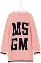 MSGM knitted logo dress - kids - Acrylic/Rayon/Wool/Alpaca - 4 yrs