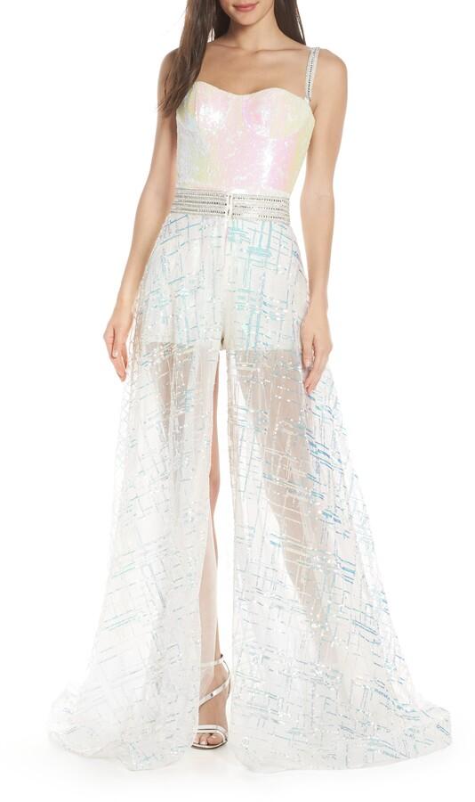 Mac Duggal Sequin Beaded Romper with Detachable Overskirt