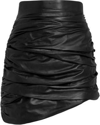 Zeynep Arcay Ruched Leather Mini Skirt