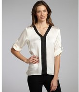 Ellen Tracy black and ivory satin roll-up bell sleeve blouse