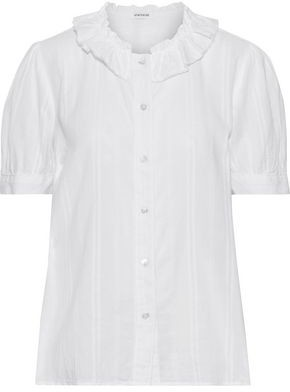Stateside Madison Ruffle-trimmed Embroidered Linen Shirt