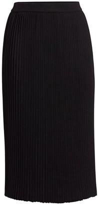 St. John Plisse Flare Knit Skirt