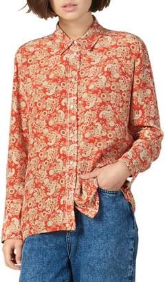 Sandro Wave 1 Lanni Paisley-Printed Silk Shirt