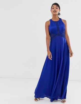 Little Mistress high neck sleeveless skater maxi dress-Blue