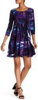 Nina Leonard Back Lace Up Printed Dress