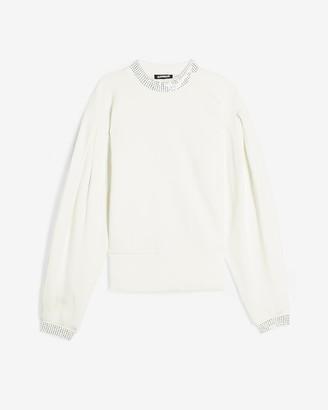 Express Embellished Mock Neck Fleece Sweatshirt