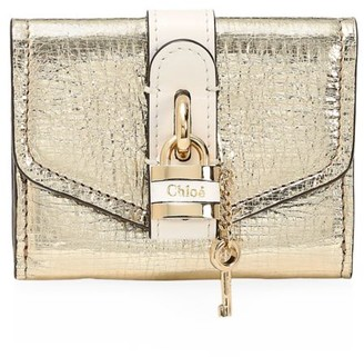 Chloé Mini Aby Metallic Leather Wallet