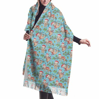 Asekngvo Christmas Holidays Winter Sloths On Blue Er Tiny Shawl Wrap Winter Warm Scarf Cape Large Soft Cozy Cashmere Scarf Wrap Womans Warm Shawl Stole