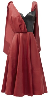 Alexander McQueen Draped-overlay Bustier Leather Dress - Red