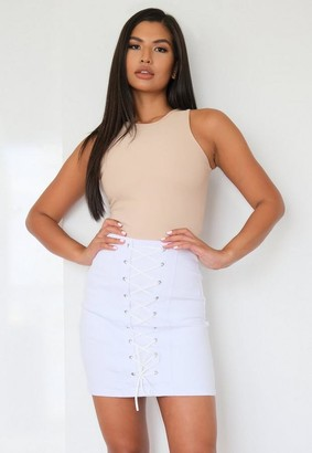 Missguided White Lace Up Bodycon Denim Mini Skirt